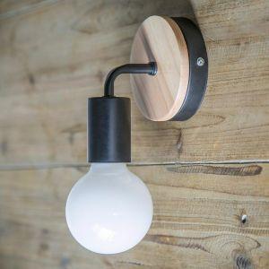 Lampe murale noire Simplicity E27 LED Applique murale en fer et en bois pour salle des enfants Chambre Bar Hôtel (sans ampoule) - STOEX