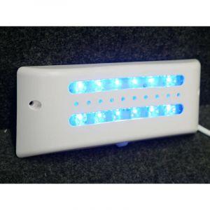 Luminaire blanc LED 3.5W balisage bleu 230V detecteur PIR + crépusculaire 200X80XX25mm IP40 RWB180 BALI DIETAL 75618