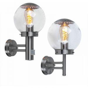 Ensemble de 2 lumières extérieures Détecteurs de mouvement Façades Projecteurs muraux Lampes à bille en verre Acier inoxydable IP44