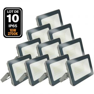 Lot de 10 Projecteurs LED 10W ProLine 2700K Haute Luminosité - EUROPALAMP