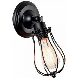 Applique Murale Industrielle Métal Fer E27 Noir Luminaire Vintage Retro pour Maison de Champagne Café Loft Cuisine Salon et chambre d'hôtel (LED ampoules non compris) - STOEX