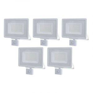 Lot de 5 Projecteurs LED Blancs 50W (250W) à Détecteur IP65 4000lm - Blanc du Jour 6000K