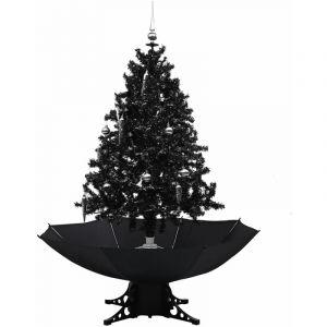 Arbre de Noël neigeux avec base de parapluie Noir 140 cm PVC - VIDAXL