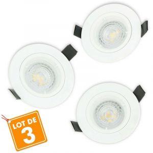 Lot de 3 Spot LED encastrable complet 1/4 de tour Blanc Fixe avec Ampoule GU10 5W | Température de Couleur: Blanc chaud 2700K - ECLAIRAGE DESIGN
