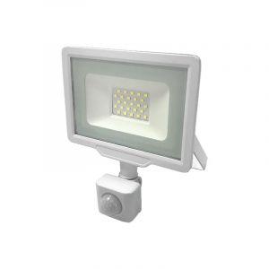 Projecteur LED Extérieur 20W IP65 BLANC avec Détecteur de Mouvement Crépusculaire - Blanc Chaud 2300K - 3500K - SILAMP
