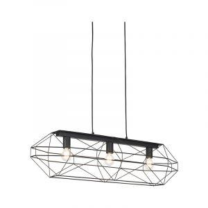 QAZQA Design /Moderne Suspension / Lustre / Luminaire / Lumiere / Éclairage design noir en métal 3 lumières - Frame Métal Noir Autres / intérieur / Salon / Cuisine