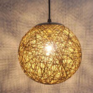 STOEX Marron clair Rétro Suspension Luminaire en Rotin Globe Rond 15cm , Lustre Abat-jour DIY Lampe Plafond E27 pour Salon Restaurant Centre commercial Bar