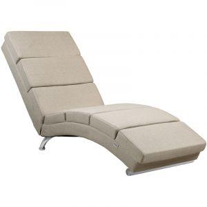 Méridienne « London » Chaise de relaxation Chaise longue d'intérieur ergonomique Fauteuil rembourré Pieds chromés Tissu sable - Casaria