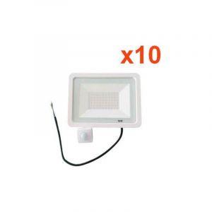 Projecteur LED 50W Détecteur de Mouvement Crépusculaire Extra Plat IP65 BLANC (Pack de 10) - Blanc Neutre 4000K - 5500K - SILAMP