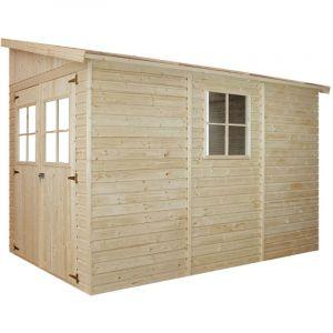 Timbela - Abri de Jardin en Bois Naturel (sans paroi latérale) AVEC LES PLANCHERS IMPRÉGNÉ- Stockage extérieur avec fenêtres- H244x202x298 cm/6,02 m2- Atelier rangement outils et vélos M339+M339G