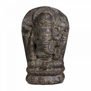 Oviala - Statue de jardin en pierre Ganesh assis 30cm Makassa - Gris - Gris