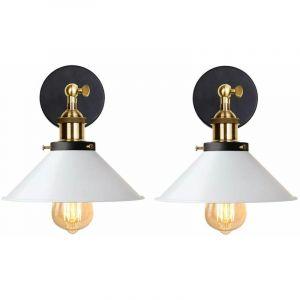 iDEGU Lot de 2 Applique Murale Industrielle Lampe de Plafond de Style Edison Métal Plafonnier Rétro avec Rotation à 180 Degrés - 22CM, Blanc