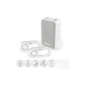 Carillon Sans Fil Mobile 150m Blanc, 6 Mélodies Et Ses 2 Boutons Poussoirs - Honeywell