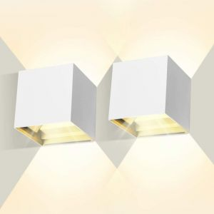 Lot de 2 Led Applique murale 7W chambre Moderne Interieur, Up and Down Design Réglable Lampe, Aluminium luminaires applique murale led Blanc pour Chambre Maison Couloir Salon (Blanc Chaud ) - STOEX