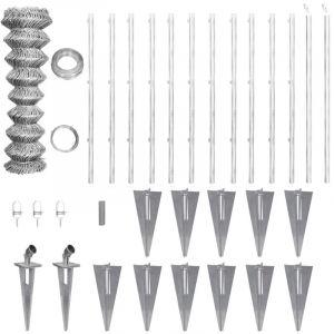 Clôture grillagée galvanisée avec ancrages pour poteau 25 x 1,5 m - VIDAXL