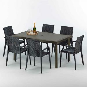 Table rectangulaire 6 chaises Poly rotin resine 150x90 marron | Bistrot Arm Anthracite noir - GRAND SOLEIL