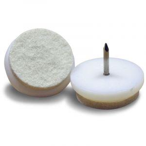 Patin Feutre diam. 32 mm Usage Intensif - Plastique BLANC et Feutre ÉCRU - À clouer - Ajile