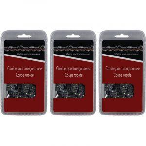 Lot de 3 chaînes 72 maillons - Compatible tronçonneuses STIHL MS 291, 311 et 391 - GT MARKET