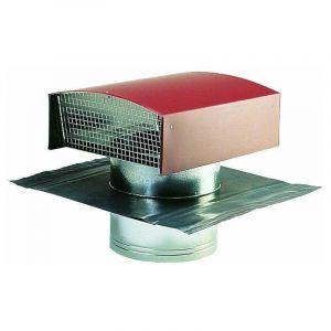 Chapeau de toiture métallique tuile 125 - ECONONAME - CTM125T Chapeau de toiture en métal couleur tuile, pour le rejet ou la prise d'air de conduits de ventilation ou hotte de cuisine. Diamètre 125 mm