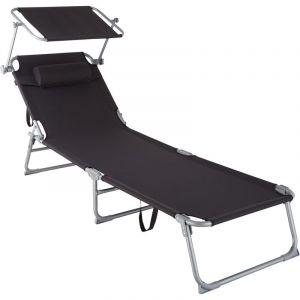 Transat CHLOE - chaise longue, bain de soleil, transat jardin - noir - TECTAKE