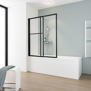 Schulte - Pare-baignoire rabattable et coulissant, 70 - 118 x 140 cm, paroi de baignoire extensible 2 volets style industriel, profilé noir, verre transparent