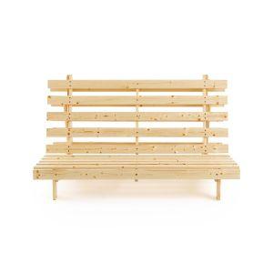 Banquette futon, 4 positions THAÏ Bois Clair Naturel Verni - Taille 160x200 cm;90x195 cm;140X195 cm