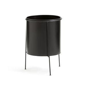 Cache-pot sur pied en métal et laiton, INAYA Noir/Noir - Taille Taille Unique