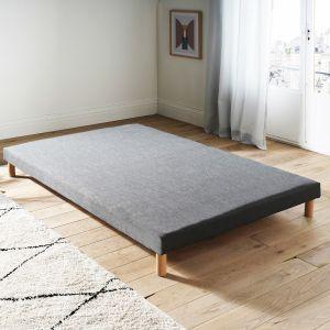 Sommier tapissier à lattes recouvertes Gris - Taille 120x190 cm;140x190cm;160x200cm;80x190 cm;80x200 cm;90x190 cm;90x200 cm