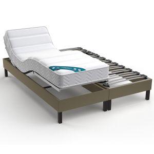 Sommier de relaxation tapissier électrique Taupe - Taille 2x90x200 cm;2x80x200cm;2x70x190cm;90x190 cm