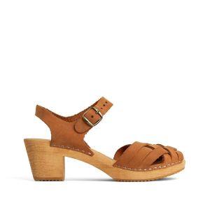 Sandales sabot en cuir à talon bois Marron - Taille 37;40;41