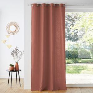 Rideau lin/viscose œillets ODORIE Terre De Sienne - Taille 180X135 cm;250X135 cm;350X135 cm