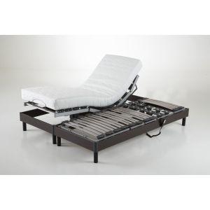 Sommier de relaxation électrique Bois Wengé - Taille 2x80x200cm;90x190 cm;2x70x190cm;2x90x200 cm