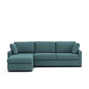 Canapé d'angle lit convertible coton Timor Eucalyptus - Taille Angle réversible