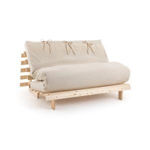 Housse futon unie Blanc Écru - Taille 160x200 cm;140x190 cm;90x190 cm