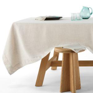 Nappe en pur lin, Linette Naturel - Taille 180x400 cm;150X250 cm;180x300 cm;150X150 cm;150X200 cm;180x350 cm;180x180 cm;180X250 cm