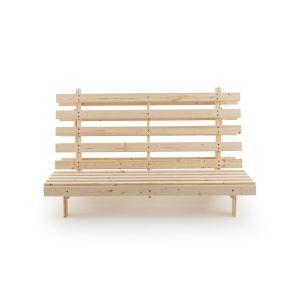 Banquette futon, 4 positions THAÏ Bois Clair Brut À Peindre - Taille 160x200 cm;90x195 cm;140X195 cm