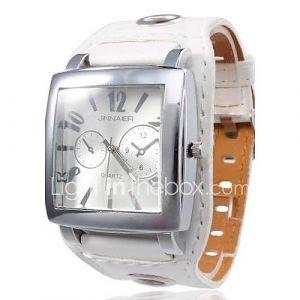 boîtier carré unisexe cadran blanc montre-bracelet large bande d'unité centrale de quartz