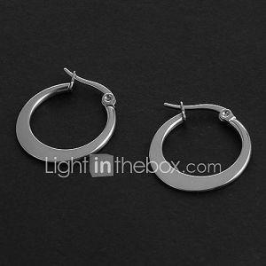 Mode simple 1.5CM forme plate Argent Acier inoxydable Boucles d'oreilles (1 paire)
