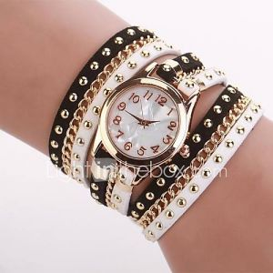 Women's  Small  Round  Dial  Diamante Mushroom Circuit   Flocking  Chain Band Quartz  Watch Cd333