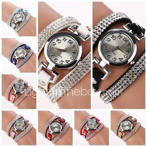 Women's Round  Dial  Diamante  Circuit Band Quartz  Watch (Assorted Color)Cd184