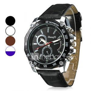 Montre cadran de conception de course pu bracelet à quartz de bande de cuir pour hommes (couleurs assorties)