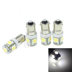 4pcs BA9S (T4W w6w) 2.5w 5x5054smd 160-180lm 6000-6500k lumière blanche pour la voiture lndicateur (dc12-16v)