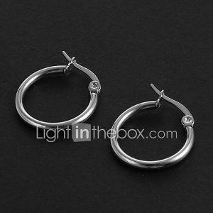 Mode simple 1.5CM Forme Ronde Boucles d'oreilles en acier inoxydable d'argent (1 paire)