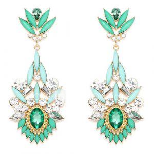 Vintage Forme Chandelier vert résine Boucles d'oreilles