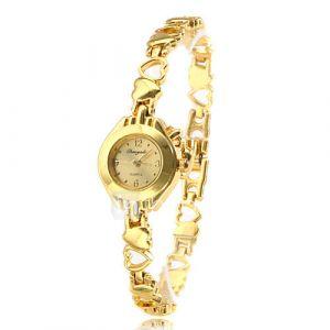 alliage d'or en forme de coeur de quartz de bande analogique bracelet de montre des femmes