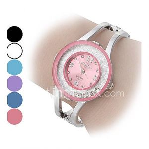 Movable Diamond Dial Steel Band Quartz Montre-bracelet analogique de la femme (couleurs assorties)