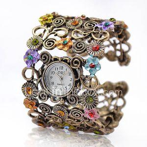 Montre Bracelet Style Vintage, Motif Fleurs