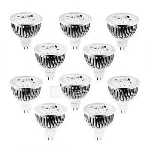 Spots (Blanc chaud/Blanc froid/Blanc naturel , Intensité Réglable) - MR16 - 4 W- GU5.3 360-400 lm- DC 12/AC 12 V- 10 pièces