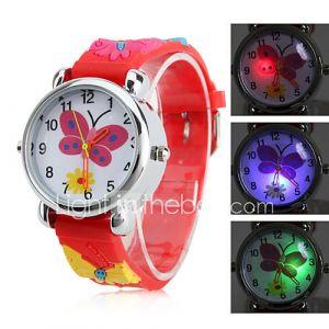 Montre avec LED Clignotante pour Enfant, à Quartz, Analogique, Style Papillon - Rouge