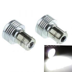 1156 (P21W BA15s) 3w 3cob 220-260lm 6500-7500k lumière blanche Ampoule LED pour voiture feu de recul (DC12V / 2pcs)